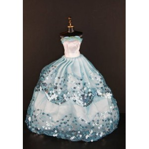 バービー 着せ替え用ドレス/服 W2 (Blue Ball Gown with Light Blue Sequined Lace Details Made to Fit the Barbie...