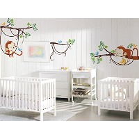 PopDecors Wall Decals & Stickers - Adorable Monkeys - Tree Branch Animals Printed Wall Sticker Kids...