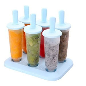 Popsicle Molds Set – 100 % BPAフリー – 6 Ice Pop Moldsメーカー(ブルー)