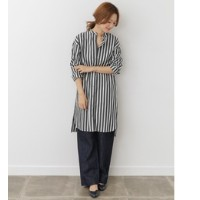 DOORS mizuiro-ind stripe mao collar shirt one-piece【アーバンリサーチ/URBAN RESEARCH レディス ワンピース black ルミネ...