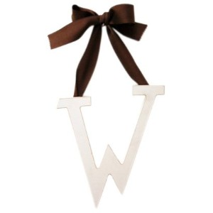New Arrivals Wooden Letter W with Solid Brown Ribbon, Cream by New Arrivals
