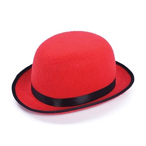 Bowler Hat. Red( Hats) - Unisex - One Size