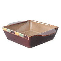 WhitePeonyレンガTeal Stoneware Squareベイカー、7.8-inch X 7.8-inch