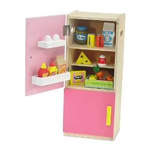 【18-inch Doll Furniture | Brightly Colored Pink Wooden Refrigerator with Freezer Includes 20...