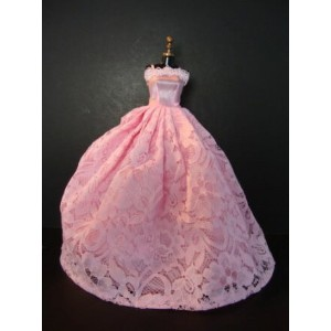 バービー 着せ替え用ドレス/服 P4 (A Lovely Yet Simple Pink Gown with Pink Flowered Lace on Top Made to Fit the...