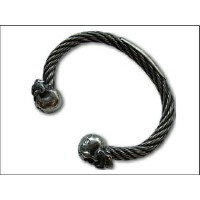 "【galcia ガルシア】バングル/""BR-WB002S""/""Mastache Skull Wire Rope Bangle"""