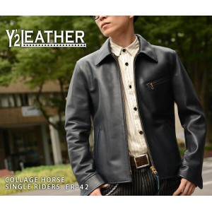 【Y'2 LEATHER/ワイツーレザー】レザージャケット/ER-42:COLLAGE HORSE SINGLE RIDERS★REAL DEAL