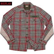 【SALE】40%OFF★REPLAY/リプレイ M4864 CHECK MILITALY SHIRT JACKET チェック、ミリタリーシャツジャケット RED/GREY(レッド×...
