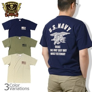 SWAT ORIGINAL(スワットオリジナル) ミリタリー メンズ半袖Tシャツ NAVY SEALS「THE ONLY EASY DAY WAS YESTERDAY」
