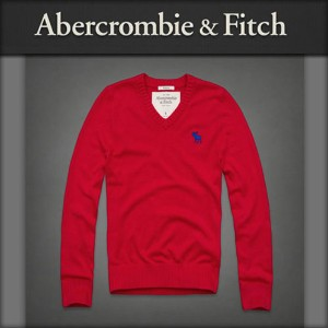 【15%OFFセール 〜7/25 9:59】 アバクロ Abercrombie&Fitch 正規品 メンズ Vネックセーター Morgan Mountain Sweater RED