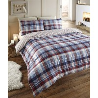 Angus Flanelette Double Quilt Duvet Cover and 2 Pillowcase Bedding Bed Set, Tartan Check Blue -Red...