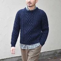 INVERALLAN(インバーアラン)/ 1A CREWNECK ALAN SWEATER(日本正規品)Heavy wt. -NAVY-(SIZE40,42) 【Z】