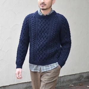 INVERALLAN(インバーアラン)/ 1A CREWNECK ALAN SWEATER(日本正規品)Heavy wt. -NAVY-(SIZE38) 【Z】