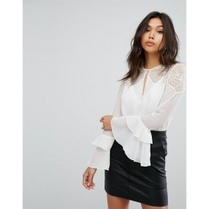 リプシー レディース シャツ トップス Lipsy Blouse With Ruffle Sleeve And Lace Shoulders White