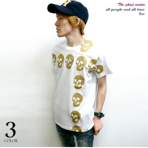 all people and all time(スカル十字架)Tシャツ -The Ghost Writer-tgw022tee-G-RR- ドクロ パンク ロックTシャツ ストリート アメカジ...