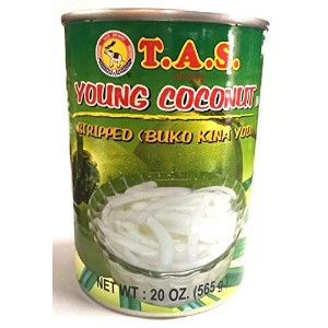 T.A.S. BRAND YOUNG COCONUT MEAT IN SYRUP(STRIPPED) ココナッツミート(ココナッツ果肉細片、シロップ漬け)、 糖漬椰子片 (565g)Thailand...