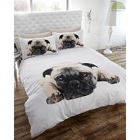 Double Duvet Cover & p/case Bedding Bed Set White Pug Dog Cute Animal by Homespace Direct