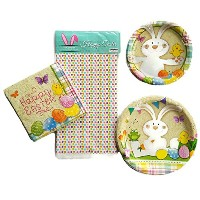 Easter Bunny使い捨て紙皿パーティーSuppliesバンドルセットの4Includes Plates、ナプキン、テーブルクロスサービスfor 8Guests