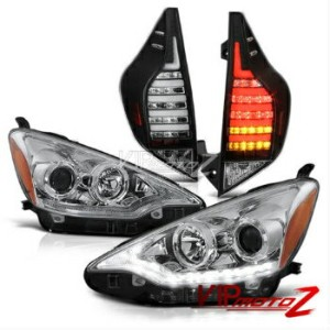 トヨタ アクア テールライト 2012 2013 2014 Prius C Aqua Black LED Signal Tail Lights Chrome Head Lights Lamp...