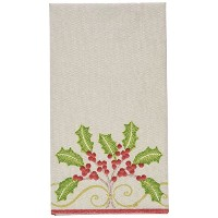 Entertaining with Caspari Christmas刺繍ペーパーリネンカクテルナプキン Guest Towels 11980GG