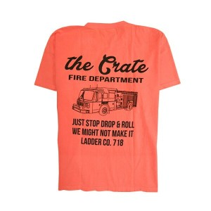 THE CRATE NY【クレイト】プリントTシャツ【FIRE DEPARTMENT POCKET SHIRT】【SALMON】半袖 ポケット プリント S/S T-SHIRT KANYE WEST...