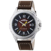 Timex タイメックス メンズ 腕時計 Men's T49908 Expedition Rugged Field Wood Grain Dial Brown Leather Strap Watch