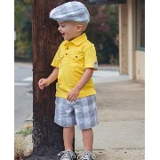 Rugged Butt グレーチェック帽子 ドライバーズキャップ ハンチング ハット キッズ 子供(Gray/White Plaid Drivers Cap) ★...