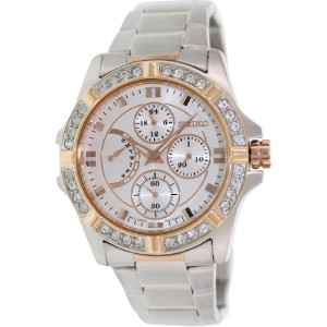 Seiko セイコー レディース腕時計 SRLZ96P1 Women's Two Tones Case and Bracelet Silver Dial Swarovski Crystal Bezel