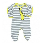 Rugged Butts グレーストライプ長袖ロンパース/ボディスーツ/カバーオール/足付き(Striped Little Man Footie)★ラゲッドバッツ【メール便可】