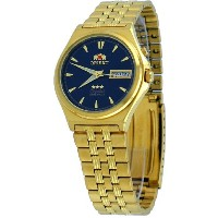 オリエント 時計 スリースター メンズ 腕時計 Orient #BEM5M00VD Men's Gold Tone Tri Star Dark Blue Dial Automatic Watch