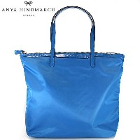 【ANYA HINDMARCH】アニヤハインドマーチ バッグ トートバッグ ショルダーバッグ コバルト ブルー COBALT LABELLED TOTE NEWSPAPERS...