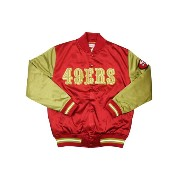MITCHELL&NESS Color Blocked Satin Jacket (NFL/San Francisco 49ers: Red×Gold)ミッチェル&ネス/サテンスタジアムジャケット...
