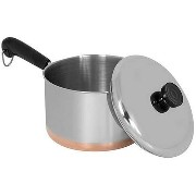 Revere Stainless Steel Copper Clad Bottom Covered Saucepan-3QT COVERED SAUCEPAN (並行輸入品)