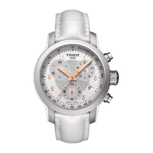 ティソ 腕時計 レディース 時計 Tissot PRC200 Chronograph Silver Dial White Leather Ladies Watch T0552171603201