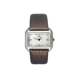 ティソ 腕時計 レディース 時計 Tissot Women's T023.309.16.031.01 T-Wave Silver Dial Brown Leather Strap Watch