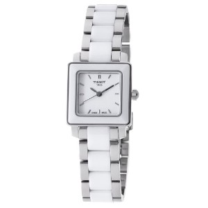 ティソ 腕時計 レディース 時計 Tissot Women's T0643102201100 Cera Square White Dial Ceramic Watch
