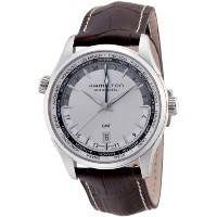 ハミルトン ジャズマスター メンズ 腕時計 Hamilton Watch Jazzmaster GMT Silver Dial Black Leather Mens Watch H32605551