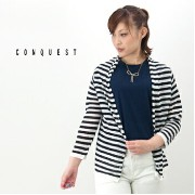 【SALE50%OFF】【2014FW】CONQUEST コンクエスト レディース ボーダー柄 リネンカーデ[TTP411097HSA]【返品交換不可】