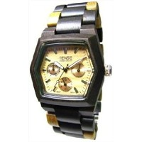送料無料 Tense テンス Mens Wood Watch - Multicolored Wood Triple Dial Hexagon G8303DM (Light Face) 男性用 メンズ 腕時計