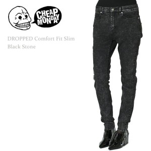 【SALE】Cheap Monday(チープマンデー)Dropped Mid-Rise Comfort Fit Slim Leg Black Stoneルーズ系スキニー/ボーイフレンド/カラーデニム