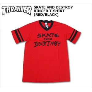 【SALE】THRASHER(スラッシャー)/Tシャツ/SKATE AND DESTROY RINGER T-SHIRTS