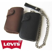 Levi's リーバイス ミドルウォレット 牛革2つ折り財布 ウォレットチェーン付き Leather biker middle wallet 76288146