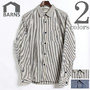 BARNS OUTFITTERS バーンズ アウトフィッターズ COTTON LINEN LONG SLEEVE DUNGAREE WORK SHIRTS 綿 麻 長袖 ダンガリー ワーク シャツ...
