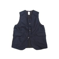 【期間限定30%OFF!】 POST OVERALLS(ポストオーバーオールズ)/#1512 ROYAL TRAVELER WOOL MELTON VEST/navy