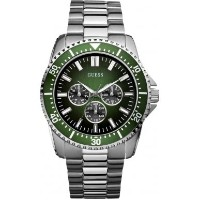 ゲス 腕時計 メンズ Guess Focus Men's Quartz Watch with Green Dial Analogue Display and Silver Stainless...