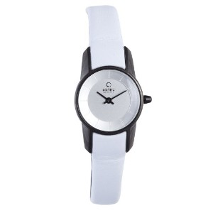 オバック レディース 腕時計 Obaku by Ingersoll ladies silver dial white leather strap watch V130LBIRW