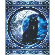 クロスステッチ刺繍図案 Heaven And Earth Designs(HAED) - Midnight Moon Celtic Black Cat
