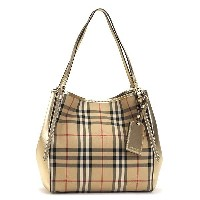 バーバリー BURBERRY ショルダーバッグ SM CANTERBPAN HORSFERRY CHECK METALIC HONEY/GOLD BE/GO【送料無料】【楽ギフ_包装】【S1】