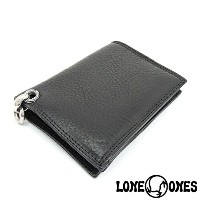 【LONE ONES】ロンワンズMF Wallet: Black Leather with 2 Card Slots: Heron Grommet Silk Link and ID Ring /MFウォレット