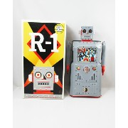 ◎【Tin Toy/ブリキ】ロボット『R-1 Robot/R-1ロボット1(グレー)』ミステリーアクション